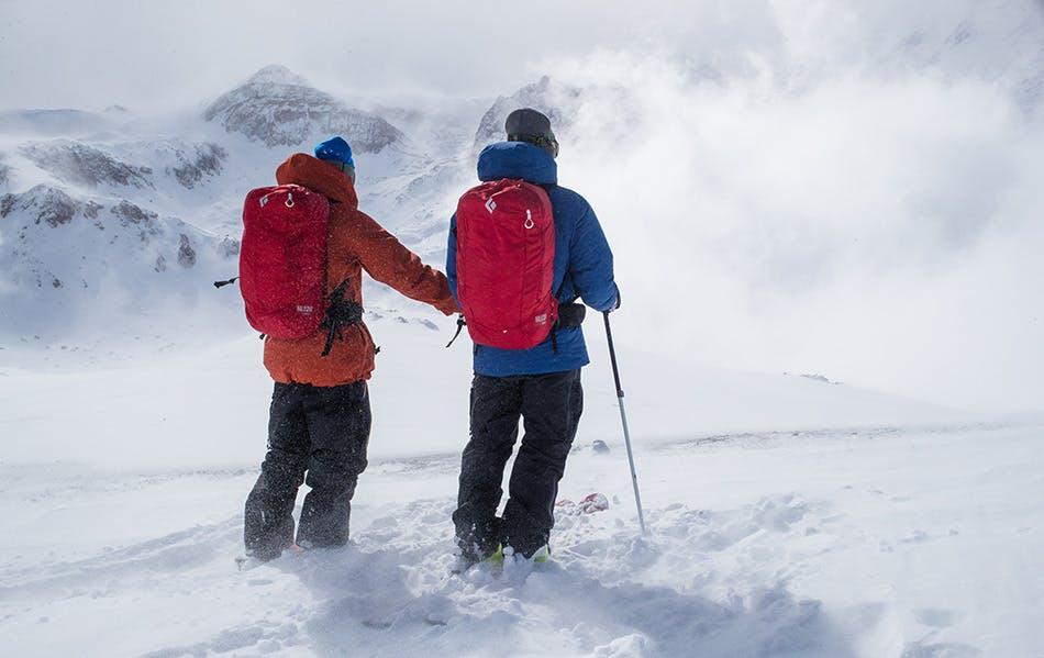 Skiers looking on