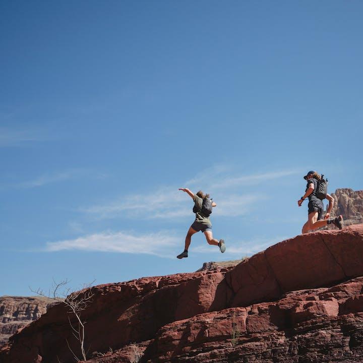 Joe Grant and Kyle Richardson running  in Arizona desert