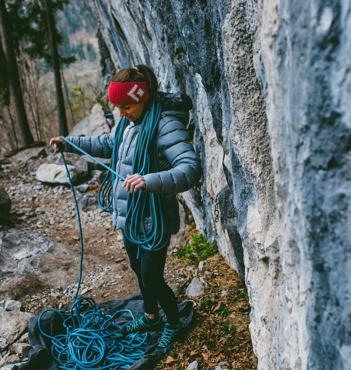 BD Athlete Babsi Zangerl coiling a rope