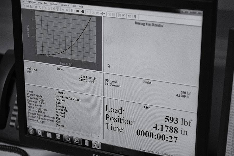 Test results displayed on a computer