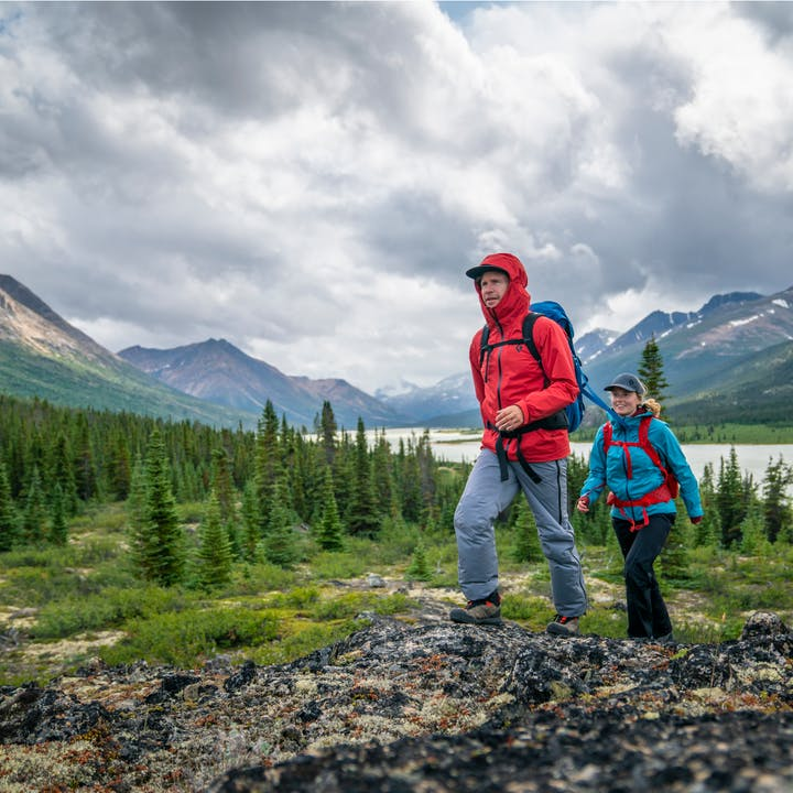Hikers in the Canadian Yukon Province.