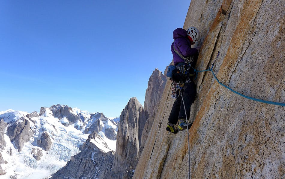 one of the climbers on the wall leading a route