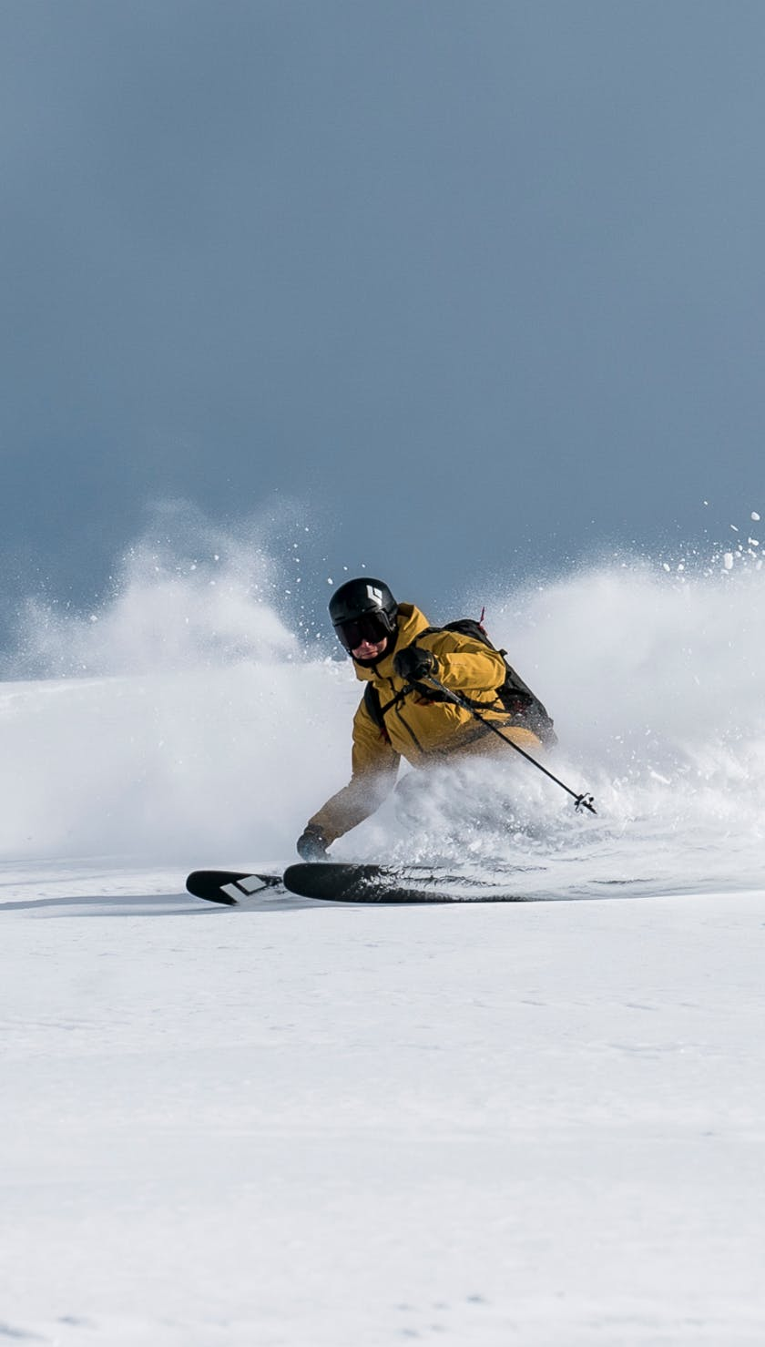 Black Diamond Athlete Tobin Seagel skiing the Impulse 98 in British Columbia, Canada.