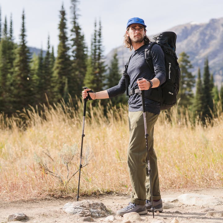 A hiker wearing Black Diamond Apparel in the Grand Tetons, Wyoming.