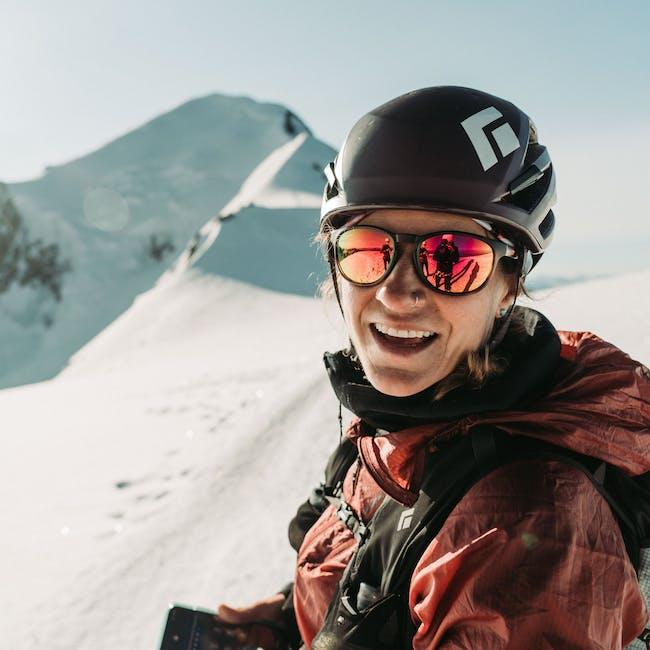 BD Athlete Hillary Gerardi in the high Alps