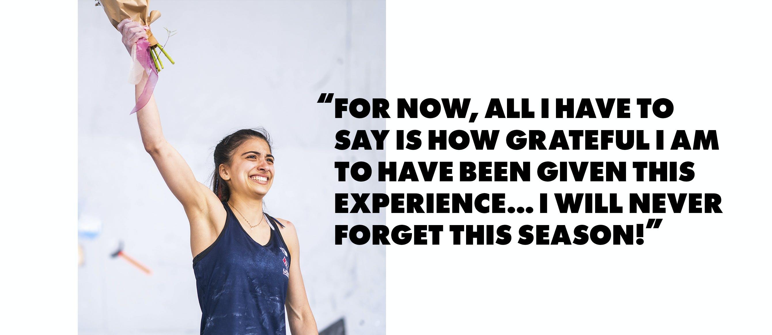 Pull quote with Black Diamond Athlete Natalia Grossman on the podium.