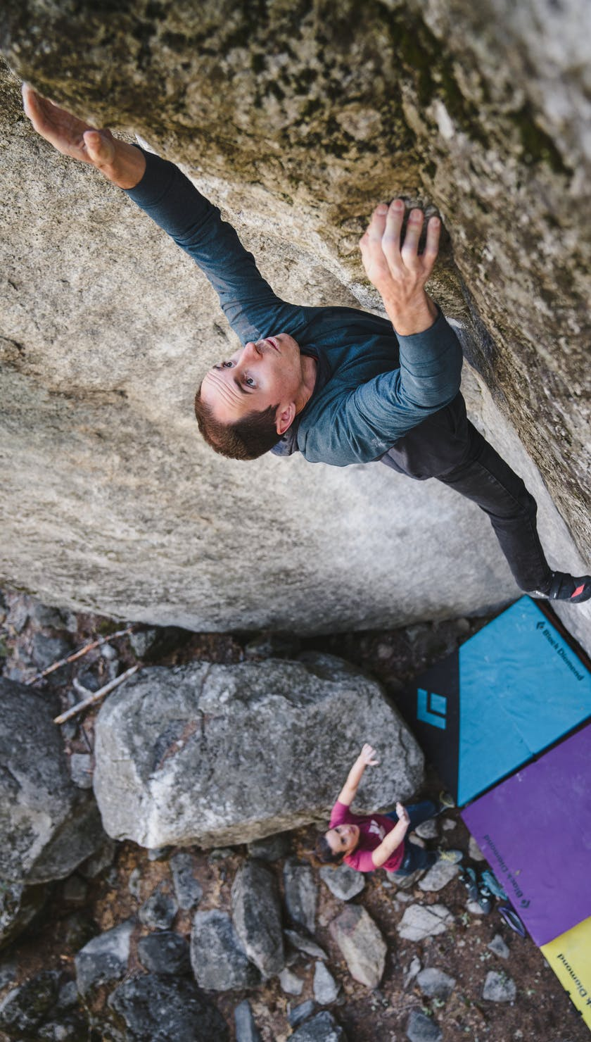 BD Athlete Carlo Traversi climbing outside