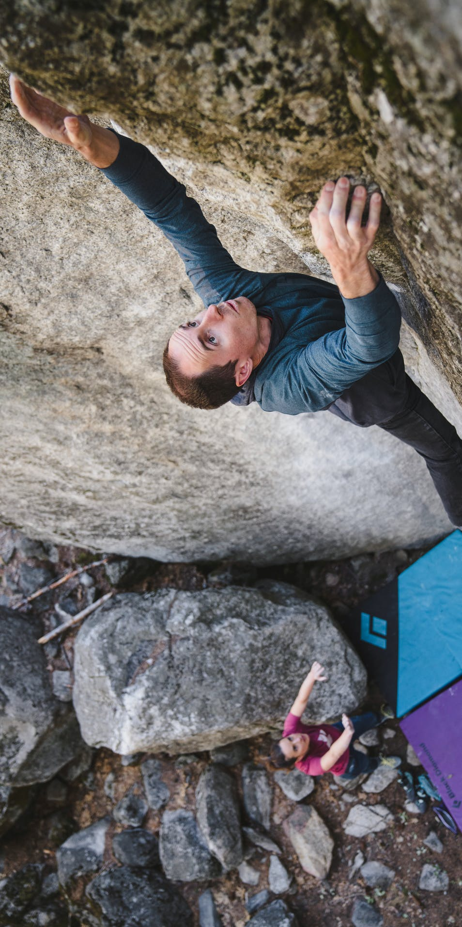BD Athlete Carlo Denali bouldering outside