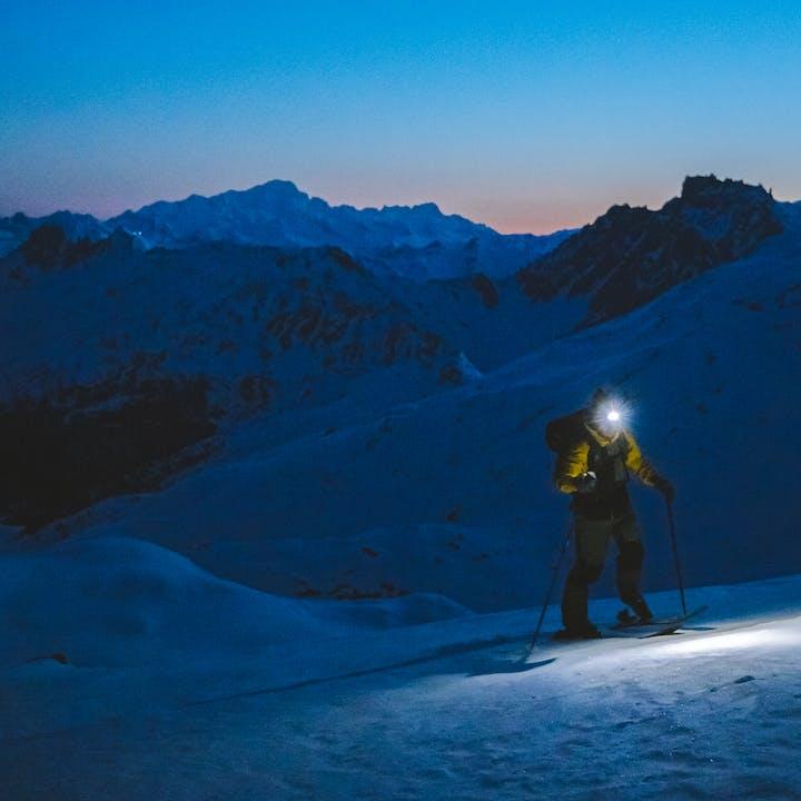 Black Diamond athlete Jérémy Prevost ski touring early in the morning.