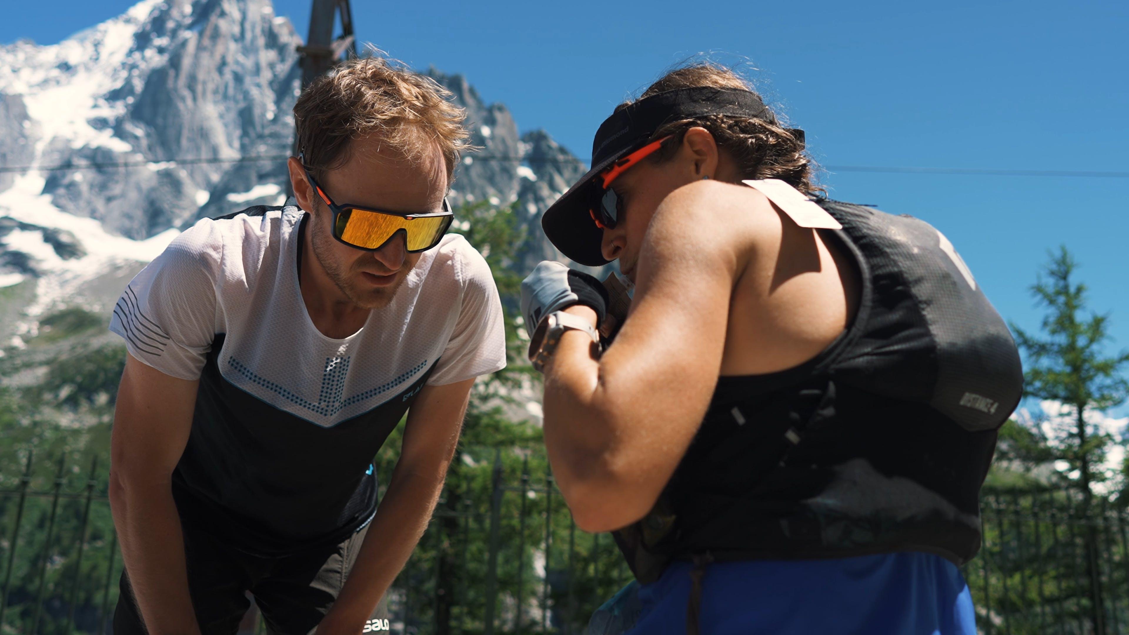 Black Diamond athlete Hillary Gerardi at an aid station during the 90k du Mont Blanc