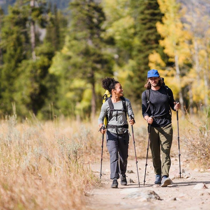 Hikers trekking through the Tetons in Wyoming