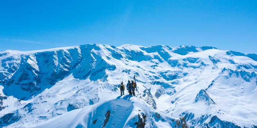 Black Diamond athlete Jérémy Prevost on top of a mountain in Europe.