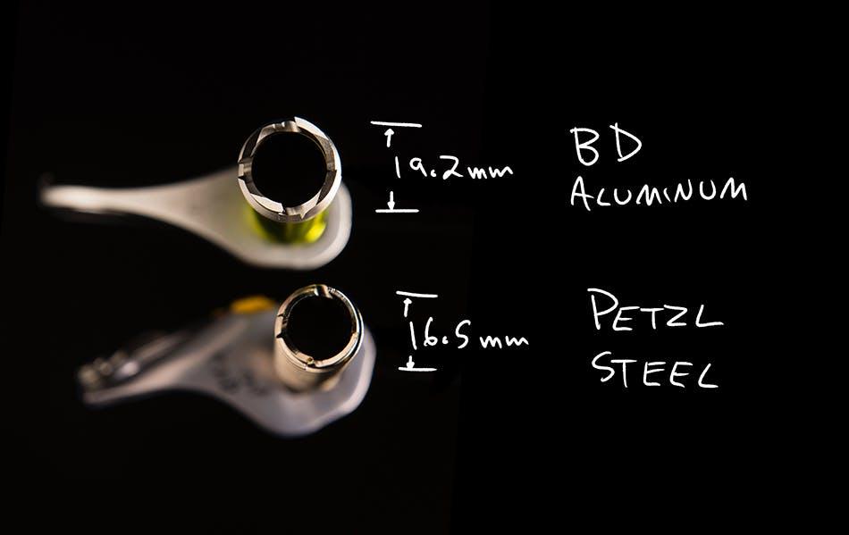 ice screw diameter comparison