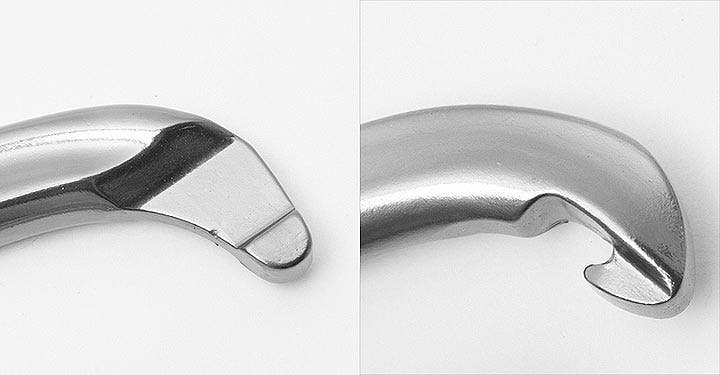 comparison of two different styles of carabiner gates