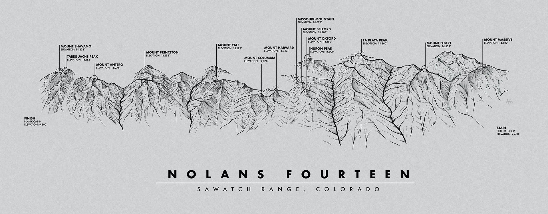 Sawatch Range, Colorado Map