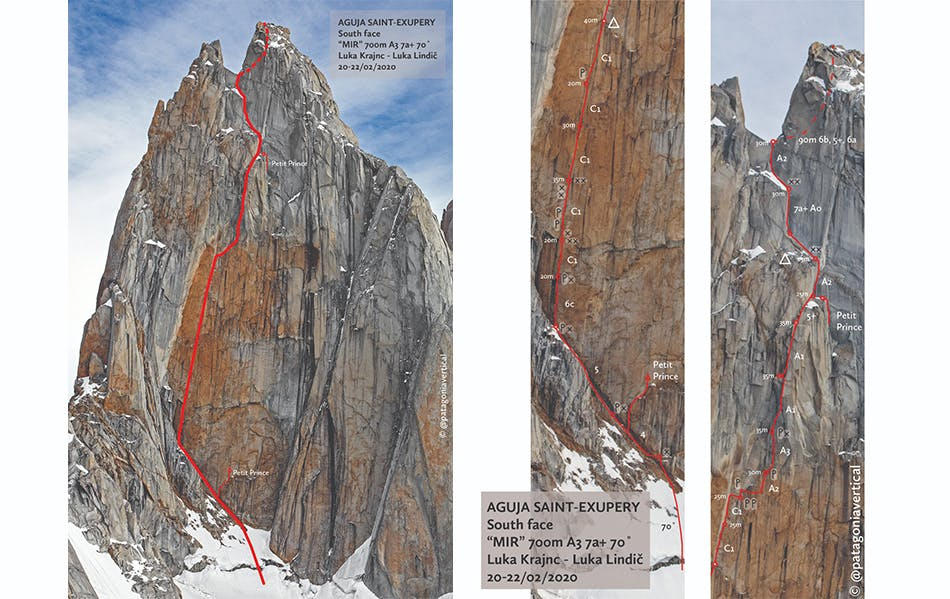 Illustration of the route on the south face of Aguja Saint-Exupery done.