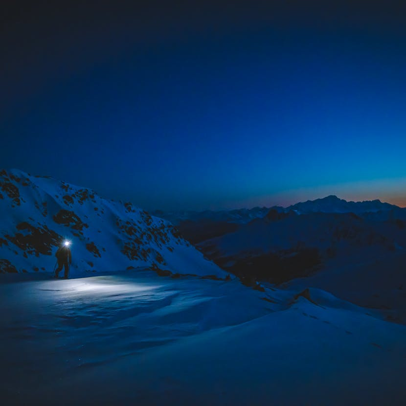 Black Diamond athlete Jérémy Prevost getting an early start to his morning.