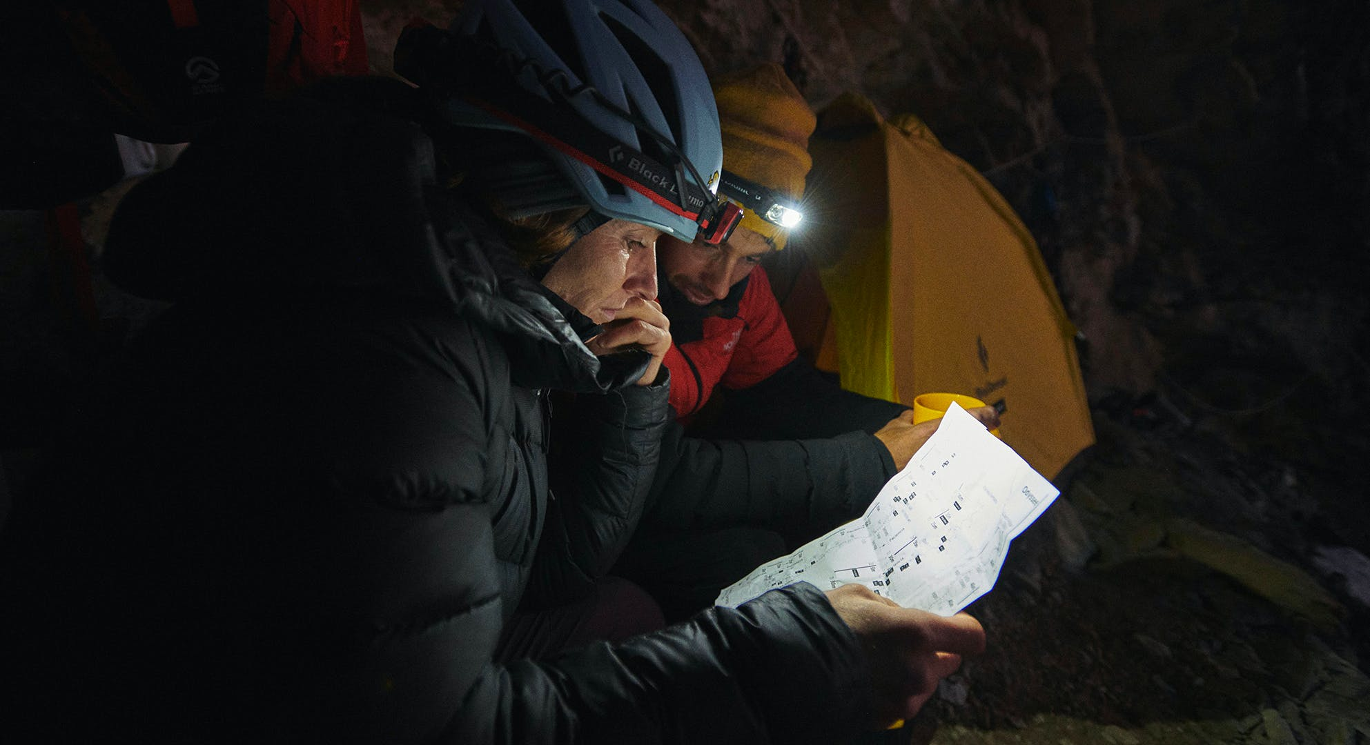 Black Diamond athletes Babsi Zangerl and her partner Jacopo Larcher planning the route