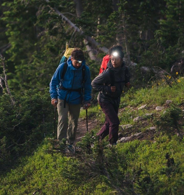 hikers wearing black diamond equipment