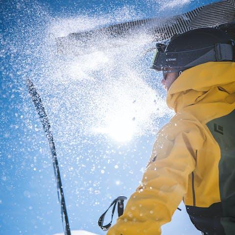 Black Diamond Athlete Jérémy Prevost ripping skins on a ski tour