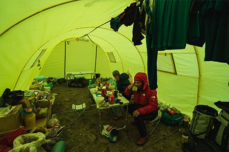 interior of the team's base camp