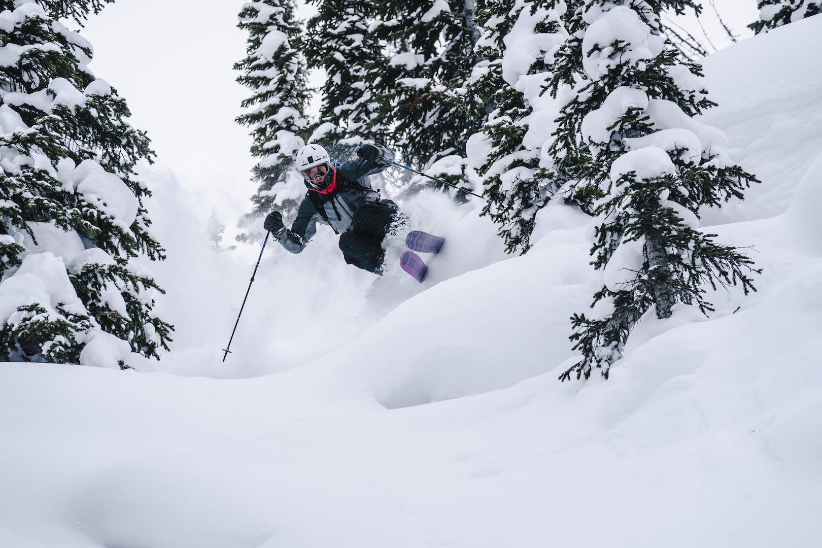 Isaac Freeland skiing deep powder in the backcountry
