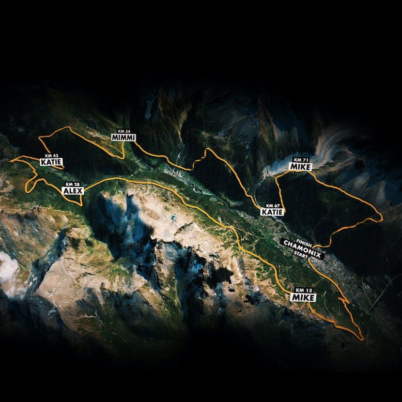 The 90k du Mont Blanc course route