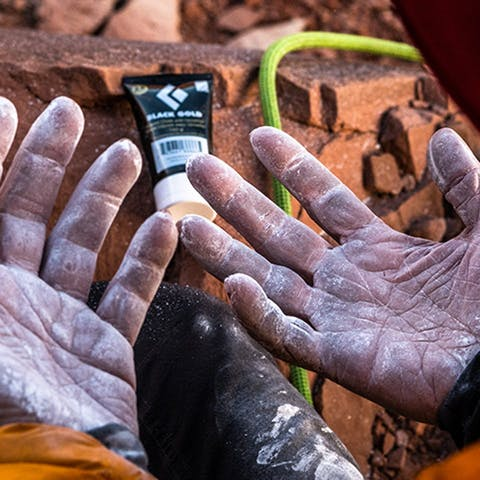 climber's hands after a route