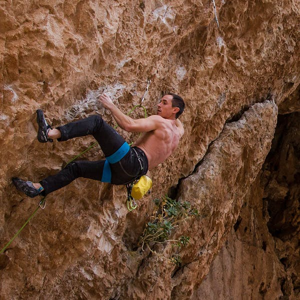 Carlo on an overhanging sport climb