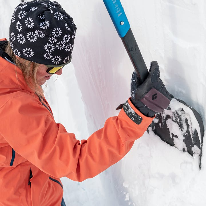 BD Athlete Mary McIntyre checking snow conditions