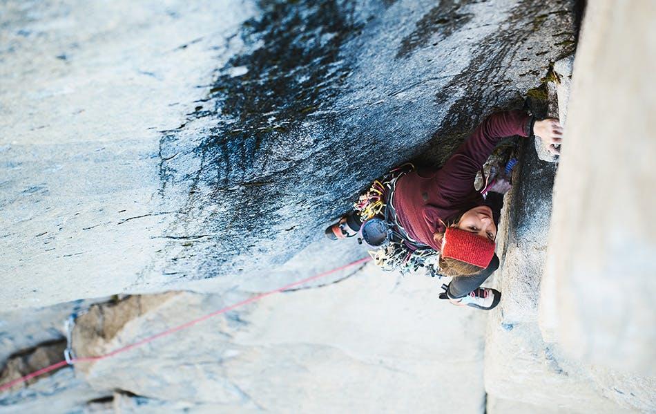 Photograph by Francois Lebeau of Babsi Zangerl climbing in Yosemite.