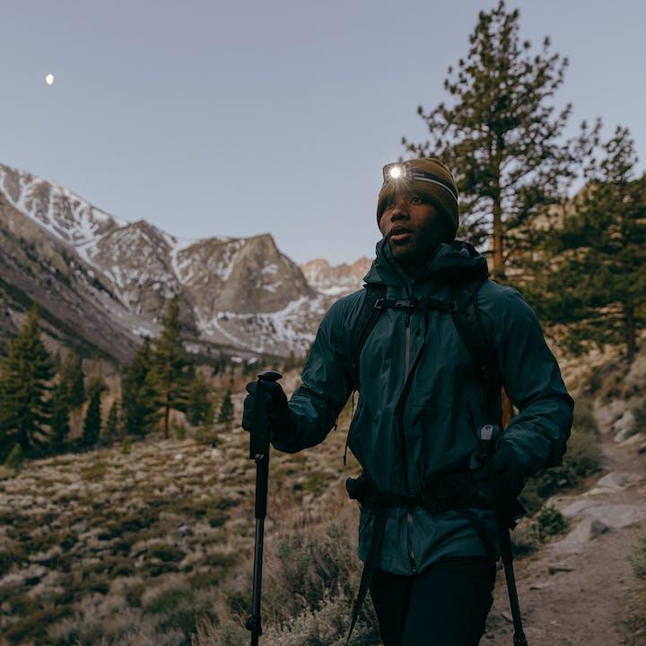 Black Diamond Ambassador Andrew King hiking outside