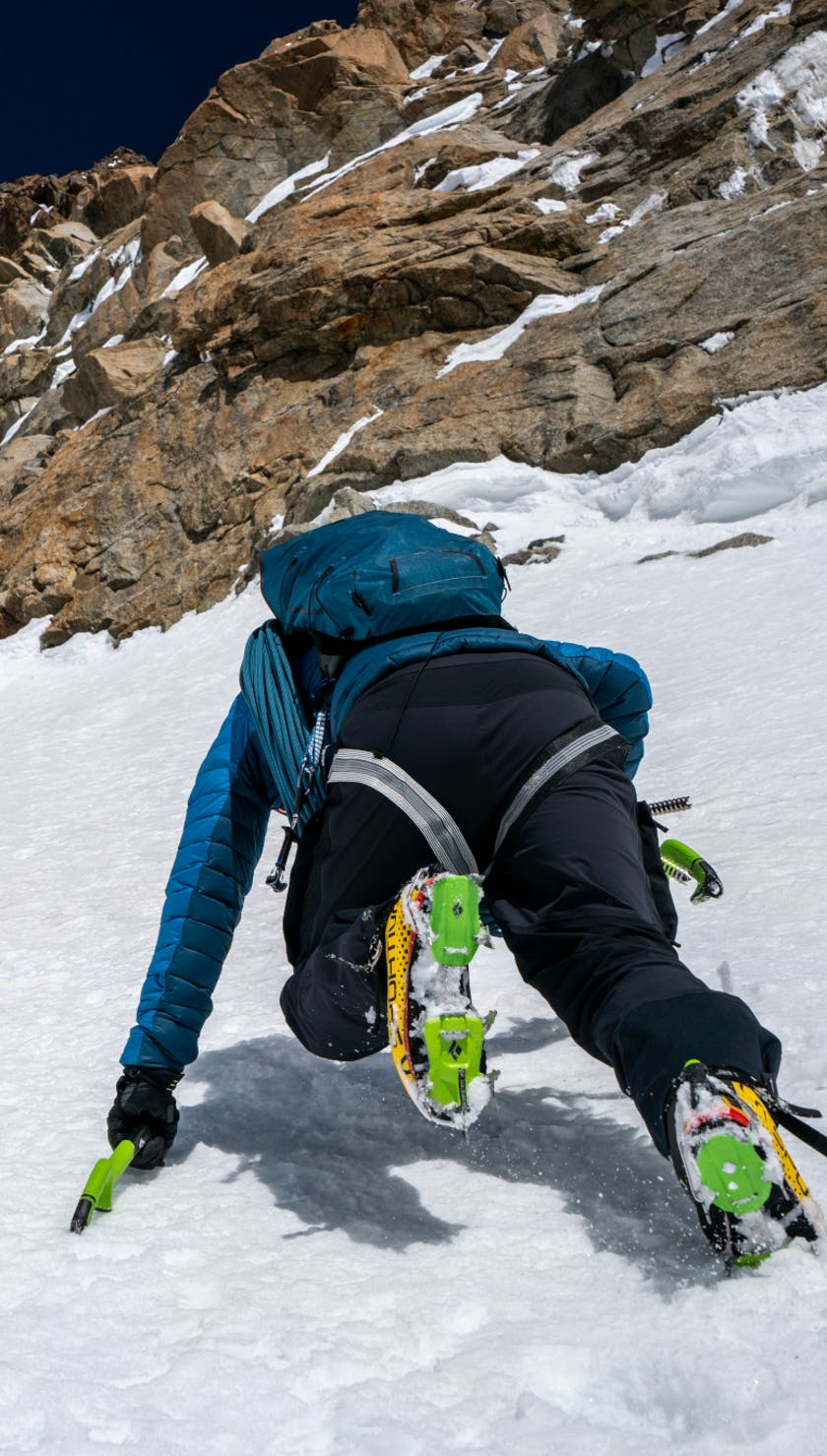 Black Diamond EU Ambassador Korra soloing Hyper Couloir on Mont Blanc.