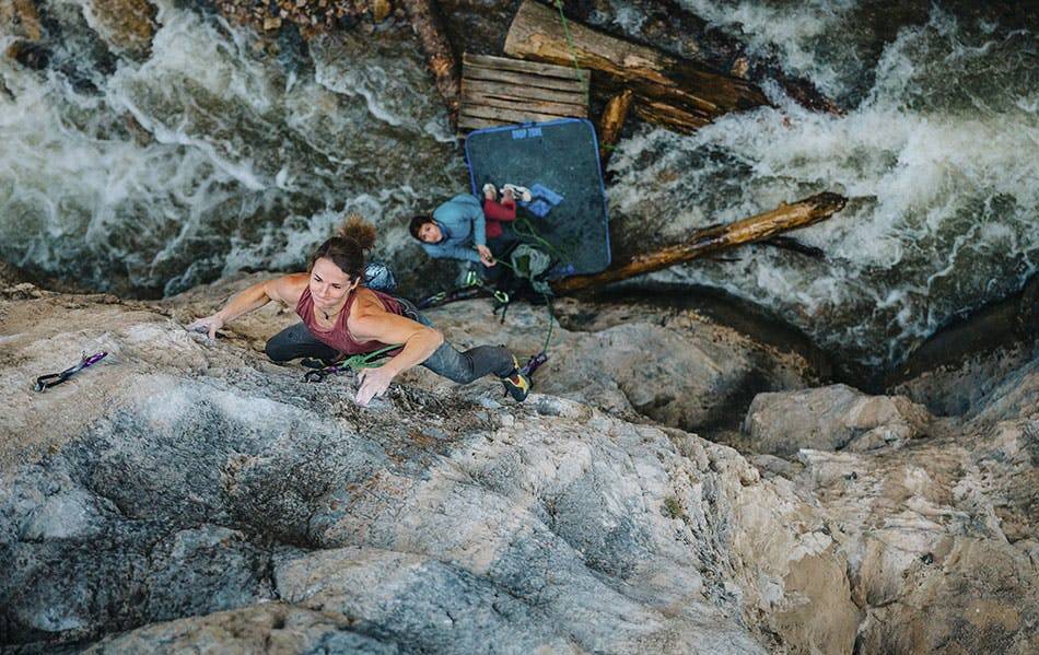 Photo of Babsi Zangerl rock climbing.