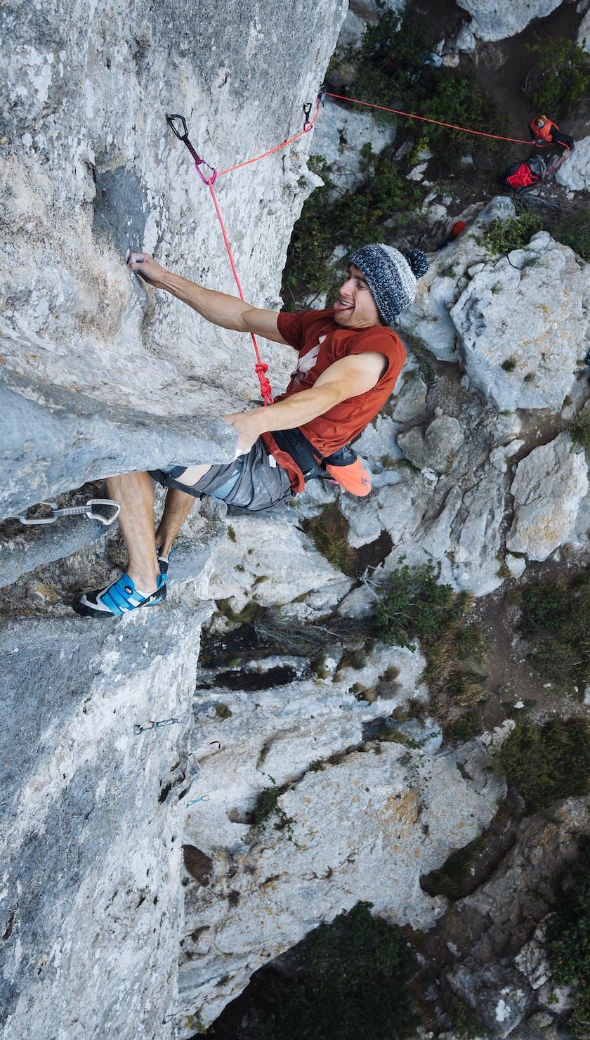 BD Athlete Seb Bouin climbing Beyond Integral