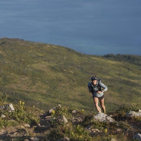 Athlete running to the summit.