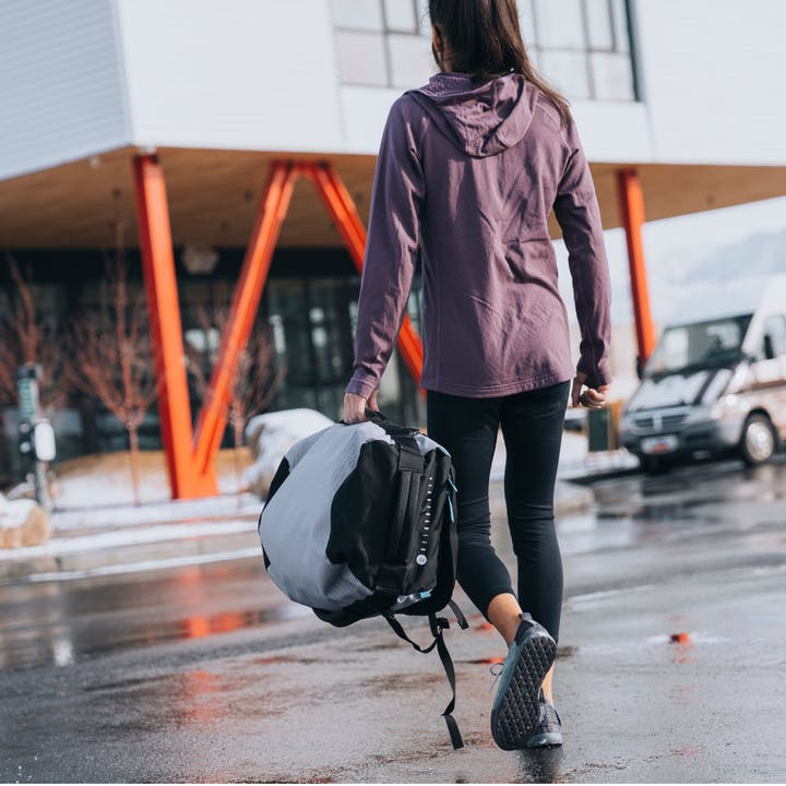 Natalia Grossman headed to train at the Front Climbing Gym in Salt Lake City, Utah.
