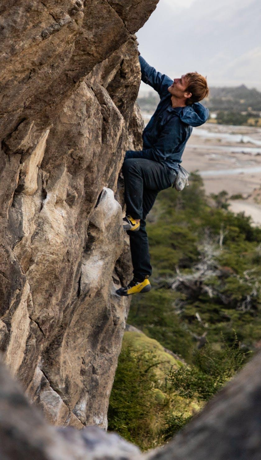 BD Athlete Nalle Hukkataival climbing in Patagonia