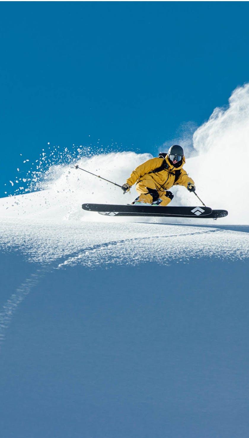 Black Diamond Athlete Parkin Costain skiing the Impulse 104 skis.