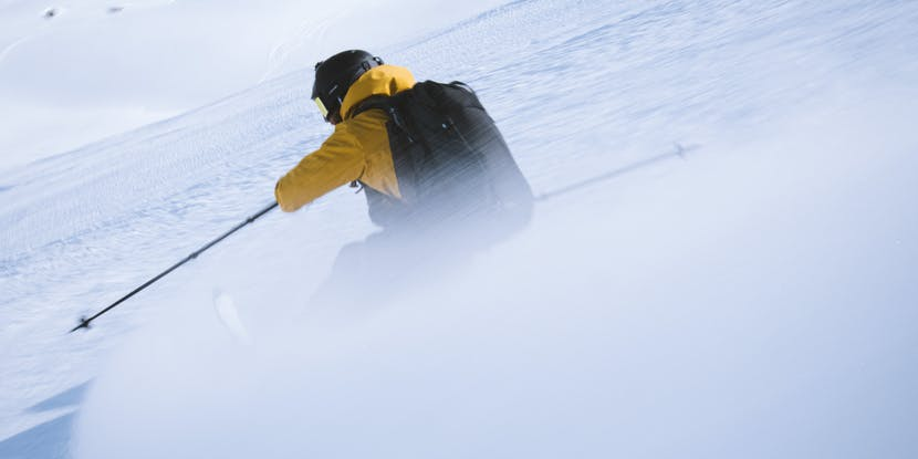 Black Diamond Athlete Jérémy Prevost skiing a backcountry line