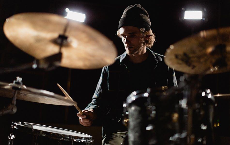 Kyle Richardson playing drums