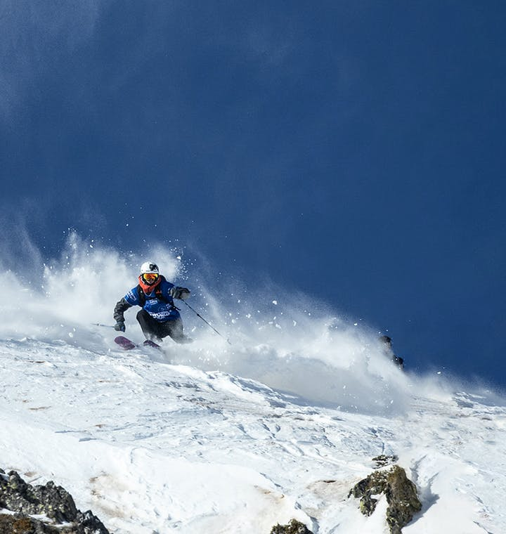 Isaac Freeland shredding the the freeride world tour