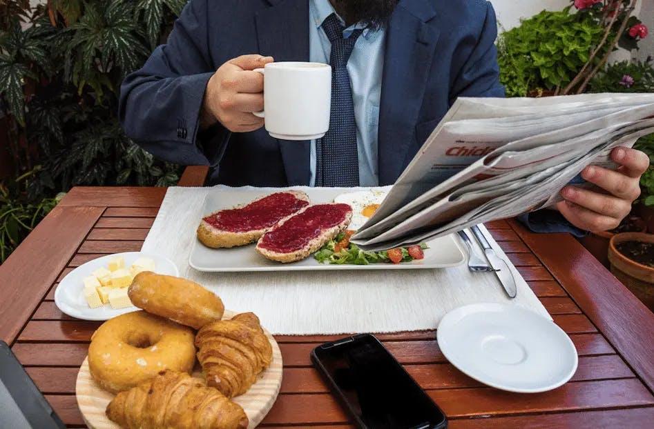 Café da manhã agradável e saudável