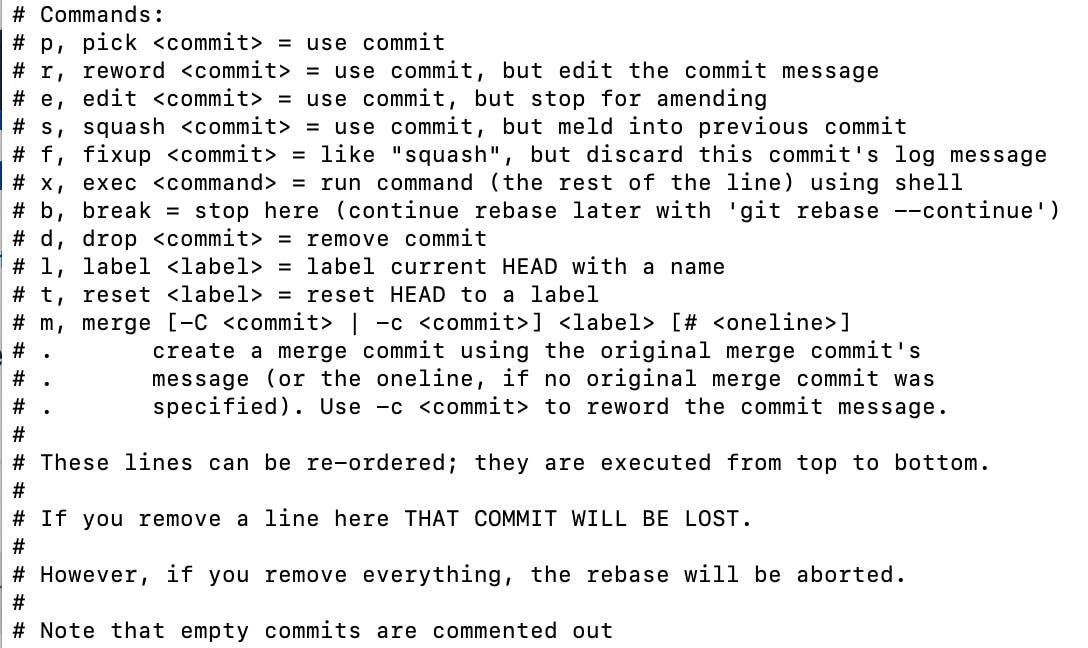 git squash commands