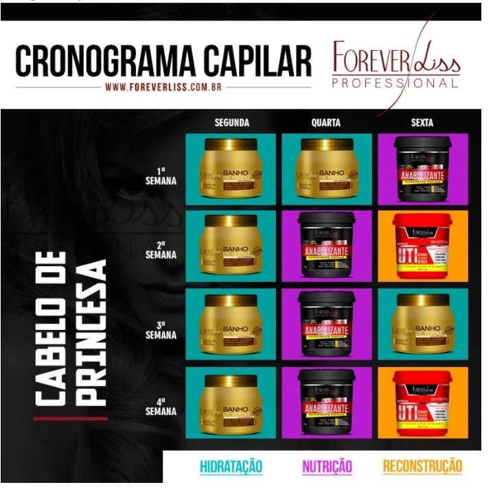 """cronograma capilar """"Cabelo de Princesa"""" retirado do site www.foreverlisss.com.br"""