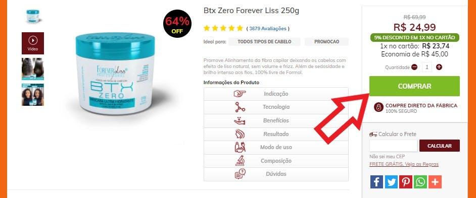 página de descrição do produto, com a opção de compra