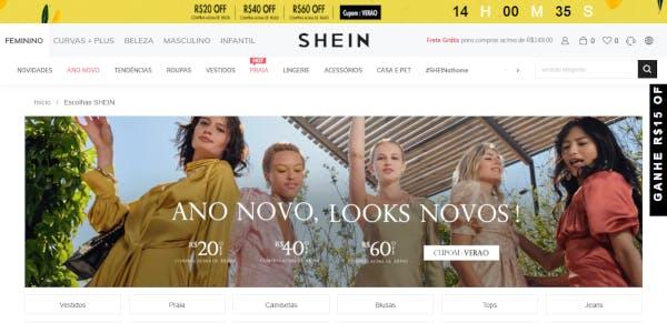 Página inicial do site Shein