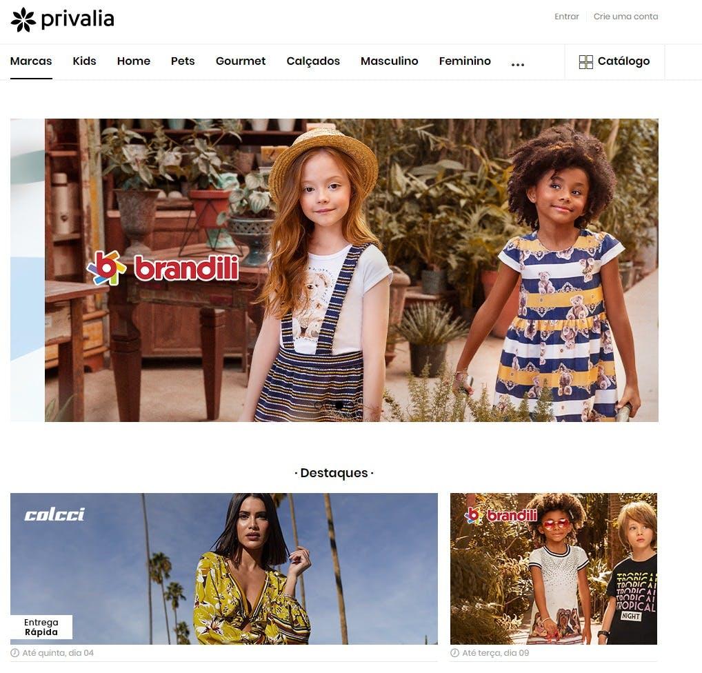 Página inicial do site da privalia