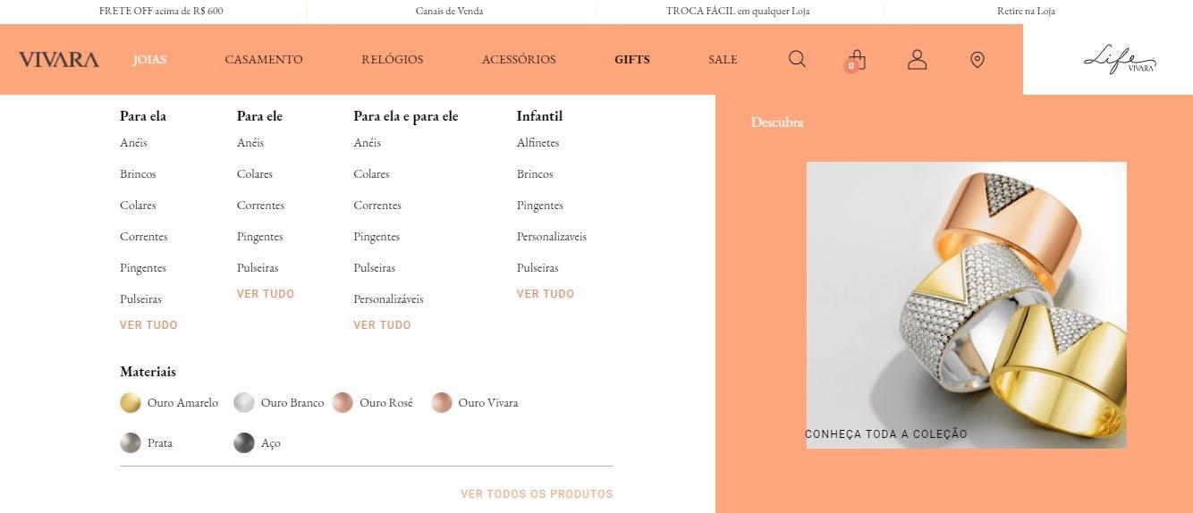 menu de categorias do site da Vivara
