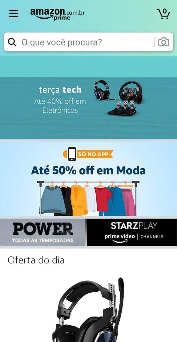 Página inicial do aplicativo, com ofertas e produtos